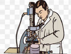 Under The Microscope Modern Hand-painted Cartoon Man - Microscope Experiment Scientist Clip Art PNG