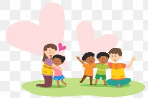 Cartoon Illustration Caring For Children - Volunteering Cartoon Illustration PNG
