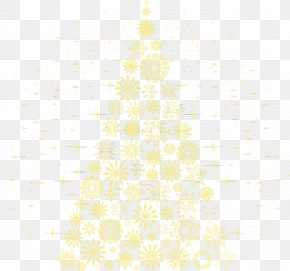 Yellow Star Christmas Tree - White Symmetry Pattern PNG