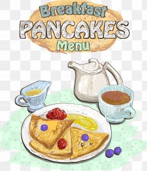 Vector Breakfast Menu - Tea Coffee Breakfast Pancake Croissant PNG