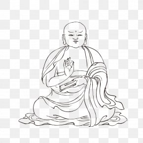 Monk Artwork FIG. - Line Art Buddhism Sketch PNG