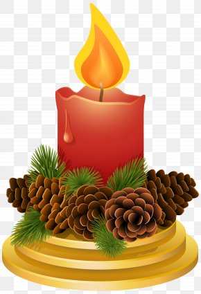 Christmas Candle With Pinecones Clipart Image - Christmas Candle Clip Art PNG