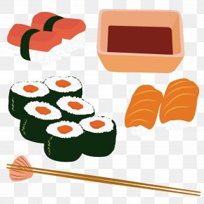 Japanese Seafood Vector Download - History Of Sushi Japanese Cuisine Sashimi Seafood PNG
