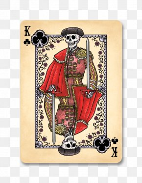 Mexican Painted Skull Banner - Bicycle Playing Cards Day Of The Dead Calavera King Of Clubs PNG