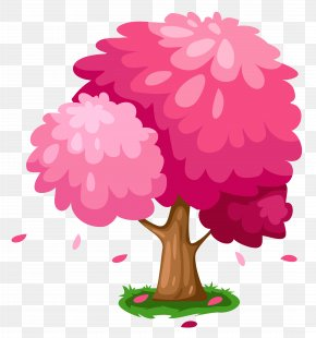 Cute Pink Spring Tree Clipart - Tree Drawing Graphics Clip Art PNG