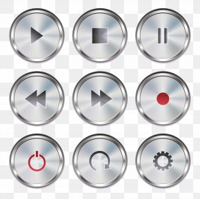 Vector Painted Pause Play Forward Record Shutdown Settings Button - Push-button Icon PNG