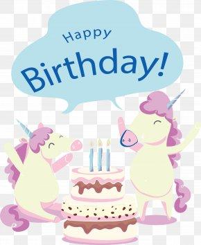 Happy Birthday Unicorn - Birthday Party Greeting Card Clip Art PNG