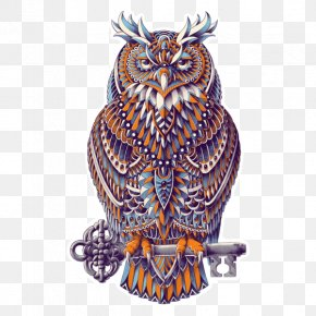 Great Horned Owl - Great Horned Owl Drawing Art PNG
