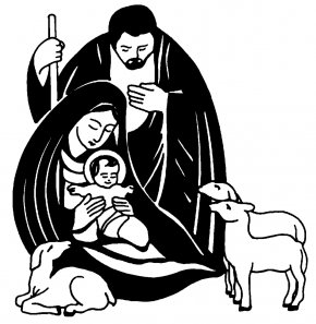 Nativity Black Cliparts - Nativity Scene Nativity Of Jesus Christmas Black And White Clip Art PNG