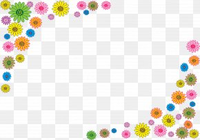 Colored Flowers Border - Stock Photography Download Illustration PNG