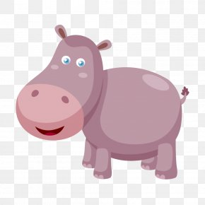 Purple Hippo Vector - Drawing Cat Animal Clip Art PNG