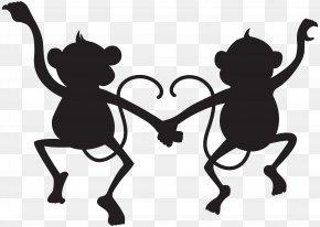 Cute Monkeys Silhouette Transparent Clip Art Image - Silhouette Clip Art PNG