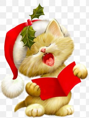 Cute Animals - Cat Santa Claus Kitten Christmas Clip Art PNG