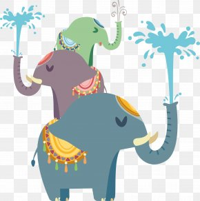 Vector Elephants Play - Elephant Splash Clip Art PNG