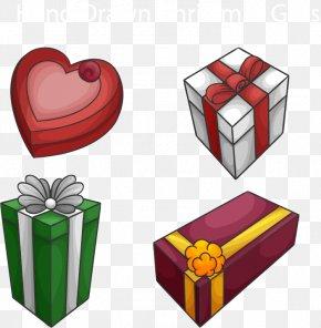 Vector Holiday Gift Material - Paper Gift Box Ribbon Cardboard PNG