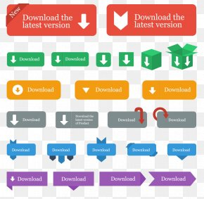 Behind The Android Download Button Pattern - Button Download Flat Design Icon PNG
