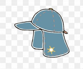 Blue Sun Hat - Sun Hat Cartoon Illustration PNG