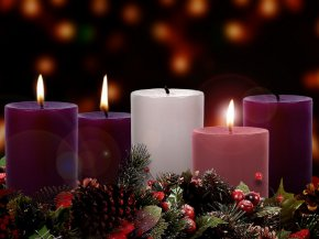 Church Candles - Gaudete Sunday Advent Sunday Advent Wreath Liturgy PNG