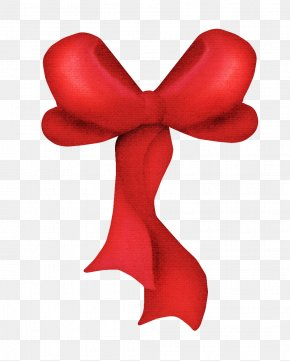 Painted Red Ribbon Bow - Ribbon Shoelace Knot Gift Wrapping PNG