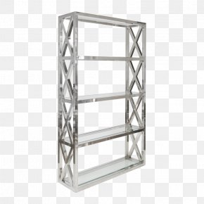 Glass Shelf - Bookcase Shelf Stainless Steel Metal PNG