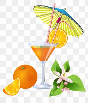 Summer Orange Cocktail Clipart - Cocktail Juice Martini Margarita Soft Drink PNG