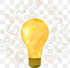Yellow Bulb With Educational Element Vector Material - Incandescent Light Bulb Idea Creativity PNG