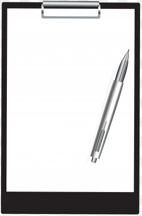 Clipboard With Pen Clip Art Image - Black And White Technology Area Angle PNG