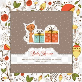 Cartoon Cat Infant Welcome Party Card Vector - Diaper Infant Clip Art PNG