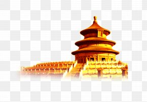 Golden Temple Of Heaven Glare Creative Background Material - Temple Of Heaven Summer Palace Forbidden City Lo Mein Take-out PNG