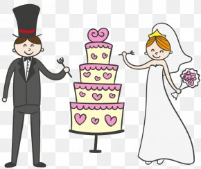 Cartoon Wedding Cake With The Bride And Groom Vector Material - Wedding Cake Wedding Invitation Bridegroom PNG