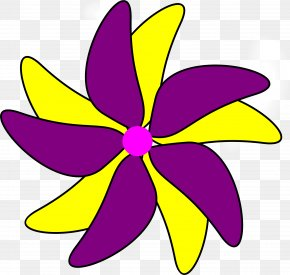 Flower Pot - Yellow Purple Clip Art PNG