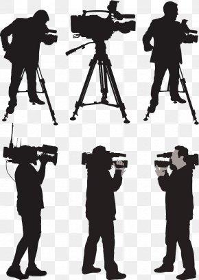 Camera Reporter Silhouette - Camera Operator News Silhouette Illustration PNG