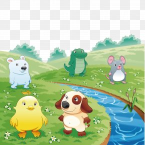 The Animals On The Grass - Cartoon Q-version Illustration PNG