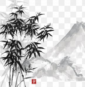 Vector Chinese Painting Style Bamboo Material - Ink Wash Painting Chinese Painting Drawing PNG