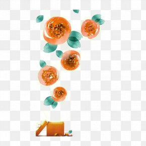 Orange Flower Material - Orange Flower Red Petal PNG
