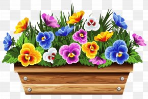 Box With Violets Clipart Picture - Flowerpot Flower Box Stock Photography Clip Art PNG