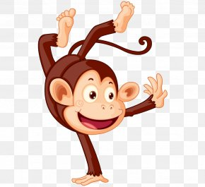 Lovely Hand-painted Cartoon Monkey Playing - Monkey Royalty-free Illustration PNG