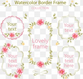 Vector Hand-painted Flower Label - Watercolor Painting Flower PNG