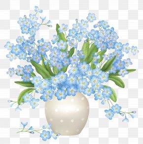 Blue Flowers Vase Clipart - Flower Blue Vase Clip Art PNG