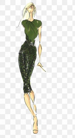 Simple Design Women's Fashion Illustration - Pantone Color Autumn Green Fashion PNG