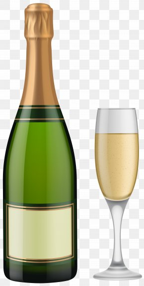 Champagne Bottle And Glass Clip Art - Champagne Glass Sparkling Wine Bottle PNG