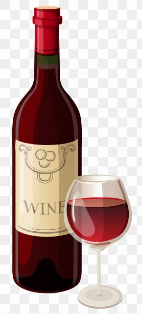 Wine Bottle And Glass Vector Clipart - Red Wine Champagne Bottle Clip Art PNG