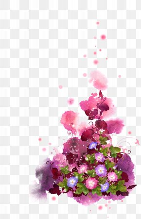 Ink Pink Fantasy Flowers Background - Flower Graphic Design Clip Art PNG