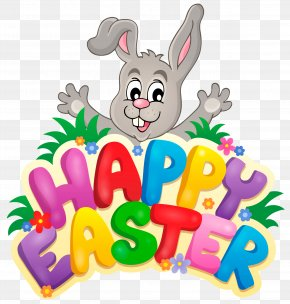 Transparent Happy Easter With Bunny Clipart Picture - Easter Bunny Clip Art PNG