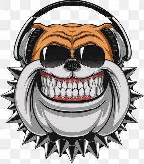 Laughing Dog Wearing Headphones - Bulldog Stock Illustration Illustration PNG