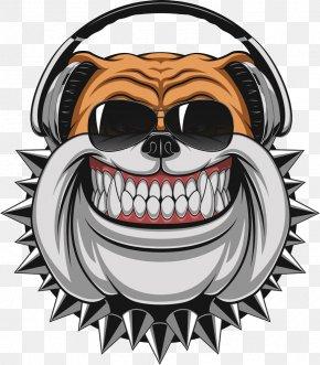 Laughing Dog Wearing Headphones - Bulldog Stock Illustration Illustration PNG