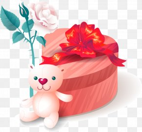 Vector Christmas Gift Box Valentine Bear Rose - Valentine's Day Gift Greeting & Note Cards Clip Art PNG