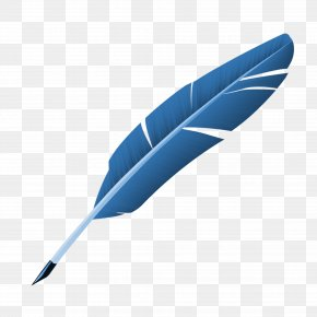 Blue Feather - Blue Feather Quill Pen PNG