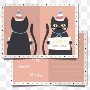 Cute Cat Birthday Card Vector - Wedding Invitation Cat Birthday Greeting Card PNG