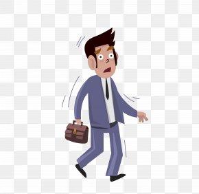 Vector Gray Walking Panic Man - Knee Pain Back Pain Joint PNG